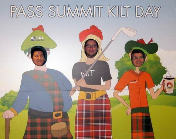 From the left, Juan Jose Puga, project manager at Chilean bank BCI, Ricardo Polo Saenz, software architect at credit card processor Nexus, and Juan Veliz Carmona, a database administrator at telecom Telefonica, all from Santiago, Chile, pop their heads into a SQL Kilt Day cutout board at October's PASS Summit 2011 in Seattle.