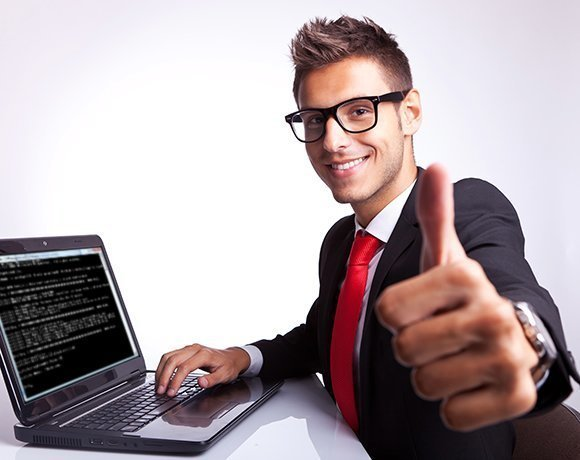 thumbs up for positive experience at computer, testing