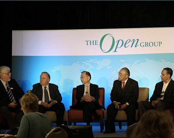 Panelists weigh in on enterprise architecture and applications dependability at The Open Group Open Platform 3.0 Forum. David Lounsbury, vice president and CTO, The Open Group; Bill Brierley, Conexiam; Mario Tokoro, founder and executive advisor at Sony Computer Science Laboratories Inc.; Junkyo Fujieda, founder and CEO of ReGIS, chairman of The Open Group, Japan; and TJ Verdi, Boeing