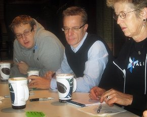 Karl Scotland, Johan Atting and Lisa Crispin in Malmö, Sweden, Lean Coffee before Øredev 2012. Not depicted: Diana Larsen and Matthew Heusser.