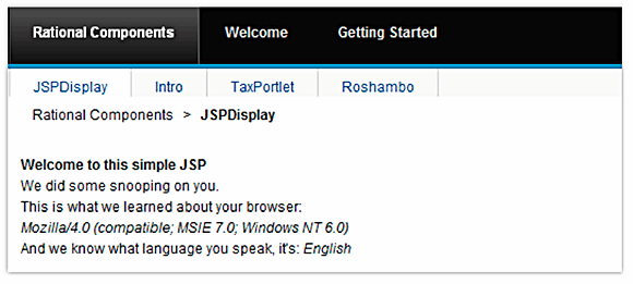 Result of running the JSPDisplay portlet
