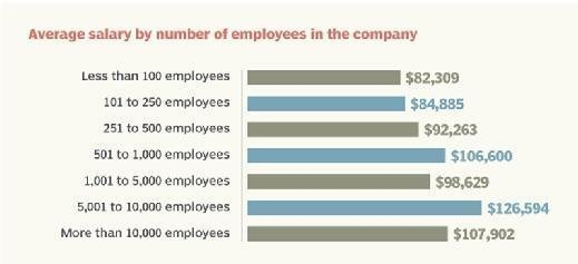 Average data storage salary by number of company employees