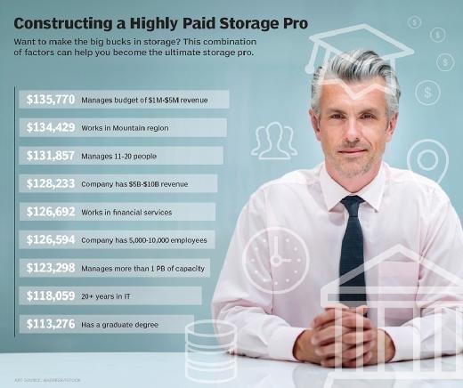 Data storage professional salary characteristics
