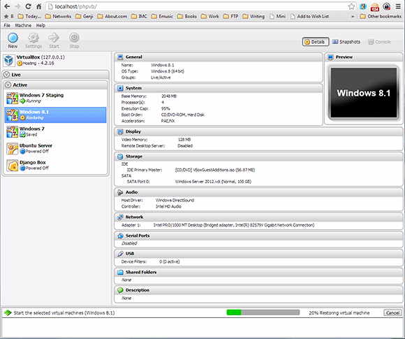 The phpVirtualBox interface