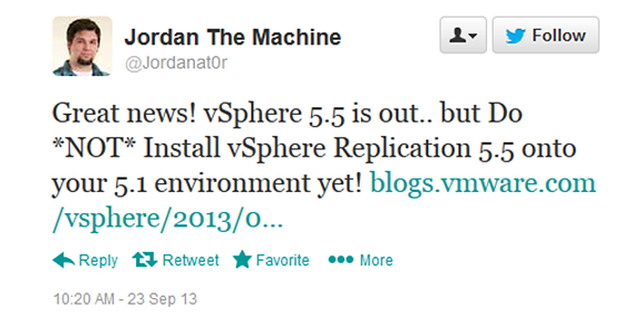 Warning on vSphere Replication 5.5.
