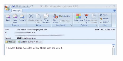 Figure 3.2: Targeted e-mail used in RSA spar phishing e-mail. Source: Wired.com [2].