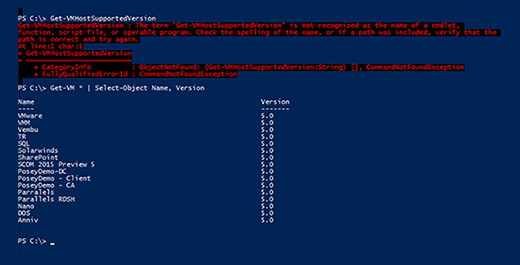 Command error and VM configuration version list