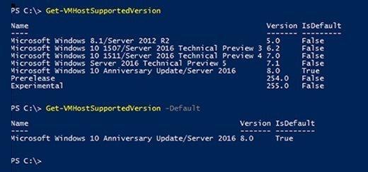 VM configuration version list and defaults