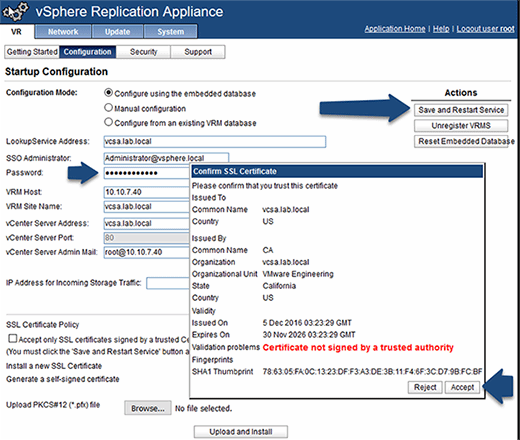 Configure the vSphere Replication appliance.