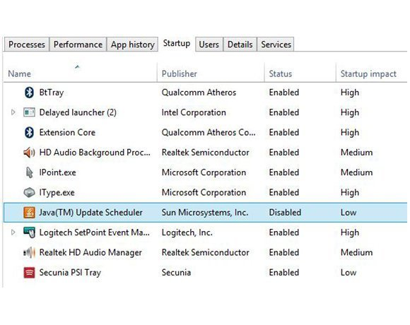 Managing startup items in Windows 8 Task Manager