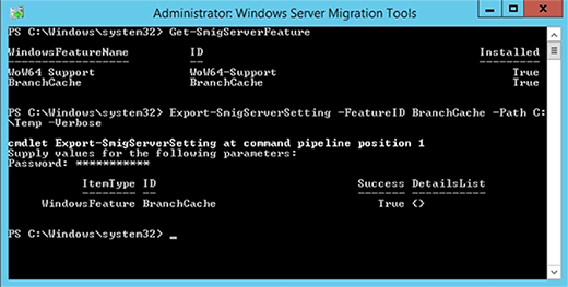Windows Server feature export