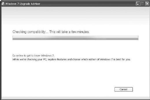 Fig. 3.2 Windows 7 Upgrade Advisor: click the Start check button to check compatibility