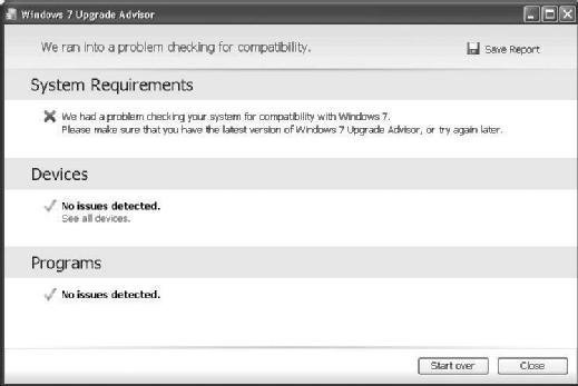 Fig. 3.4 Windows 7 Upgrade Advisor details failings of System Requirements test