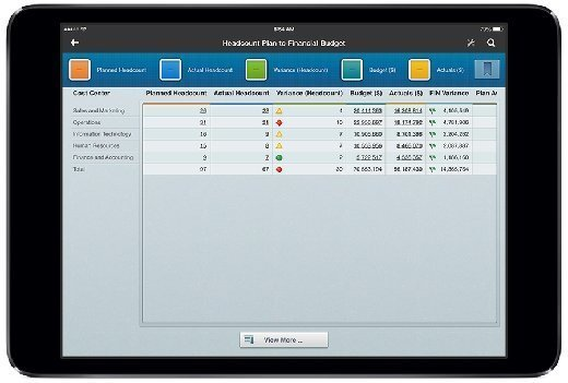 HR and and finance data merged on Workday Composite Reporting screen.