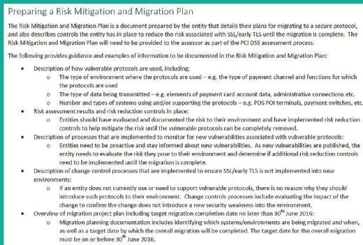 PCI DSS 3.1: Preparing a risk mitigation and migration plan for SSL/TLS
