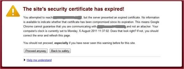 Certificate expiry