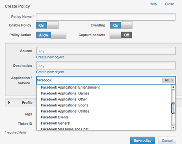 Figure 2. Creating an application-aware policy for Facebook.
