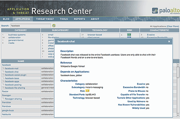 Figure 1. Extensive application databases help administrators determine relative risk for specific software.