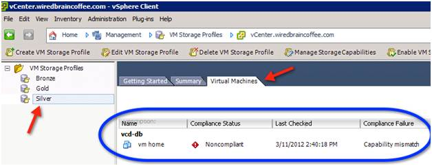 Checking VM storage profile compliance