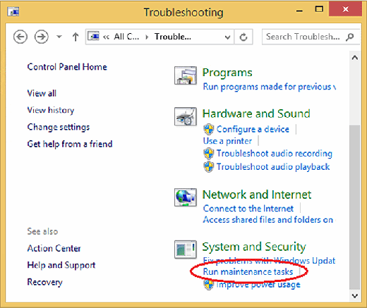 Select 'Run maintenance tasks' for troubleshooting.