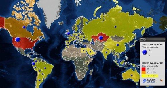 Standorte der Kontrollserver des Galileo-Trojaners laut Kaspersky