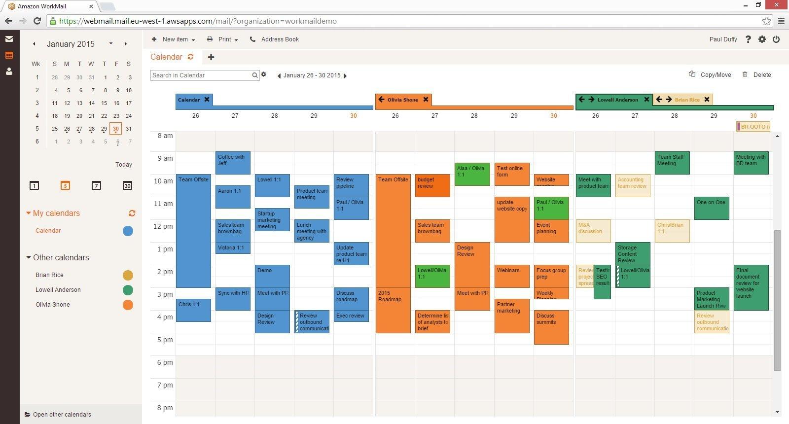 Workmail Calendar