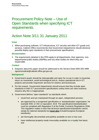 Cabinet Office open standards Procurement Policy Note - 31 January 2011 - PPN 3_11 Open Standards.png
