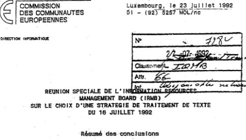 EC Information Resources Board recommends WP standard till better option - 16 JUL 1992 - Splash.png