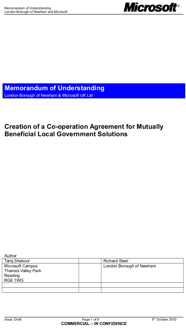Thumbnail image for 2003 - Newham and Microsoft - Memorandum of Understanding - cropped.png