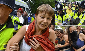 20130813 - Green Party MP Carloline Lucas arrested at anti-fracking protest - by johnyoung2345 at btinternet dot com.jpg