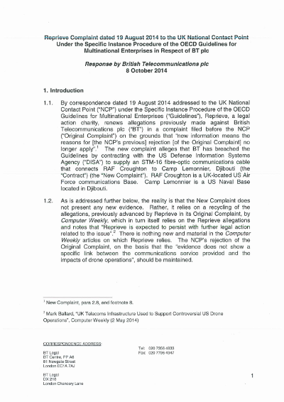 2014-10-08 - Formal BT rejection of CSR complaint about drone deaths.png