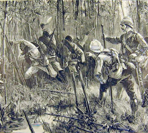 The Looshai expedition - Goorkhas clearing a passage through bamboo jungle - Illustrated London News - 1889 - CROPPED.png
