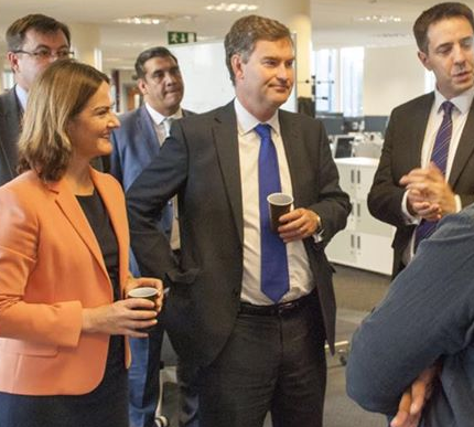 Treasury financial secretary David Gauke at official opening of HMRC Digital Delivery Centre in Telford with Lucy Allan MP - 1 September 2015.png