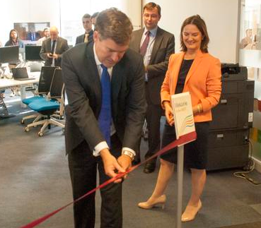 Thumbnail image for Treasury financial secretary David Gauke cuts ribbon at HMRC Digital Delivery Centre in Telford with Lucy Allan MP - 1 September 2015.png