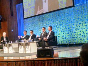 From left: Sandy Pentland; Ricardo Bartra, Deutsche Post DHL; Niraj Jetly, NutriSavings; Rob Thomas; Anthony Christie,