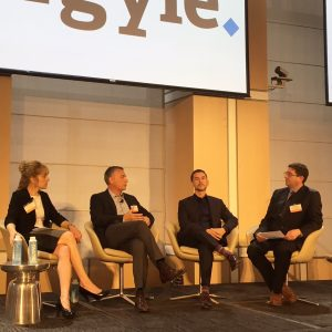 From left to right, Barbara Spengler, Nic Di Iorio, Kenneth Corriveau and moderator Phillip Miller speak on a panel at the Agyle CIO Leadership Forum in New York on Tuesday. Photo by Mekhala Roy/TechTarget