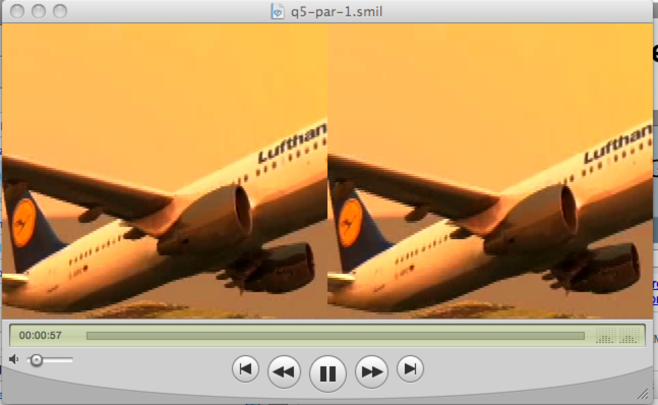 An SMIL XML program that plays a video twice, in parallel.