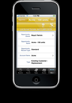 Salesforce.com's new Mobile Lite app for the iPhone