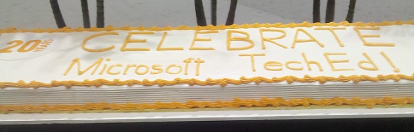 The 20th birthday cake on display at Microsoft TechEd 2012