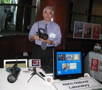 "Kevin Young from Idaho National Laboratory displays the ""Hazmat Cam"""