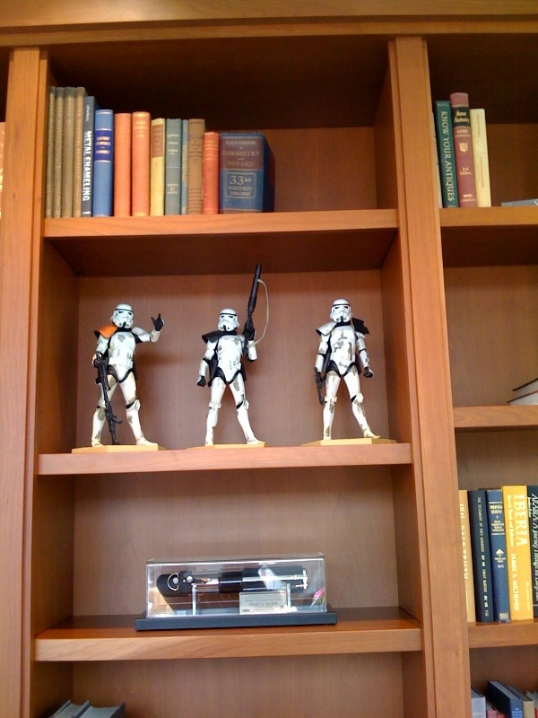 Stormtroopers on a bookshelf