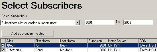 Bulk Edit Subscriber Selection
