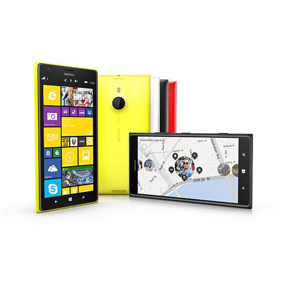 Nokia 1520 smartphones in various colors.