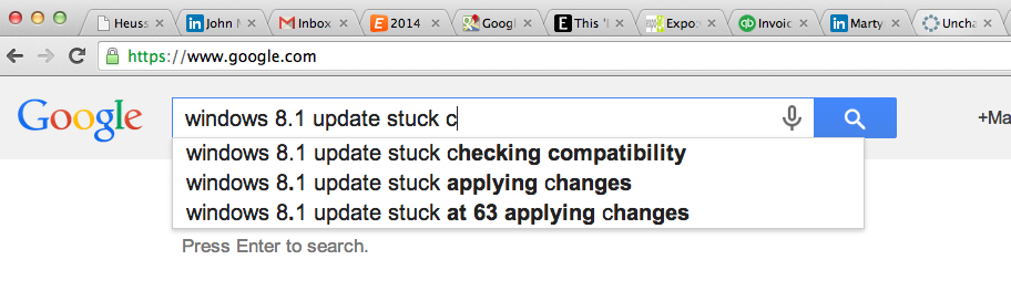 """google search auto-fills """"compatibility mode"""" on update to windows 8.1 is stuck"""
