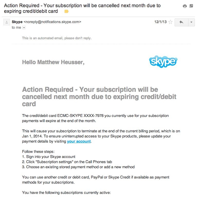 An email from skype