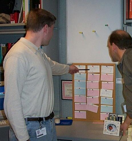Picture of matt pointing at story cards