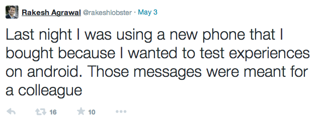 Rocky says he was testing an android phone, messages were not intended to be public.