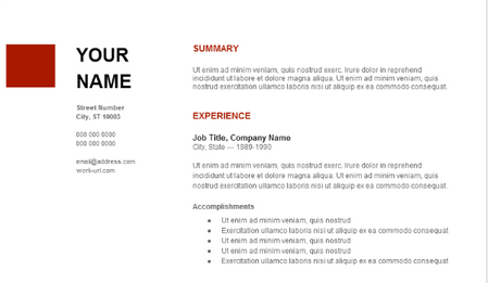 Resume with generic text