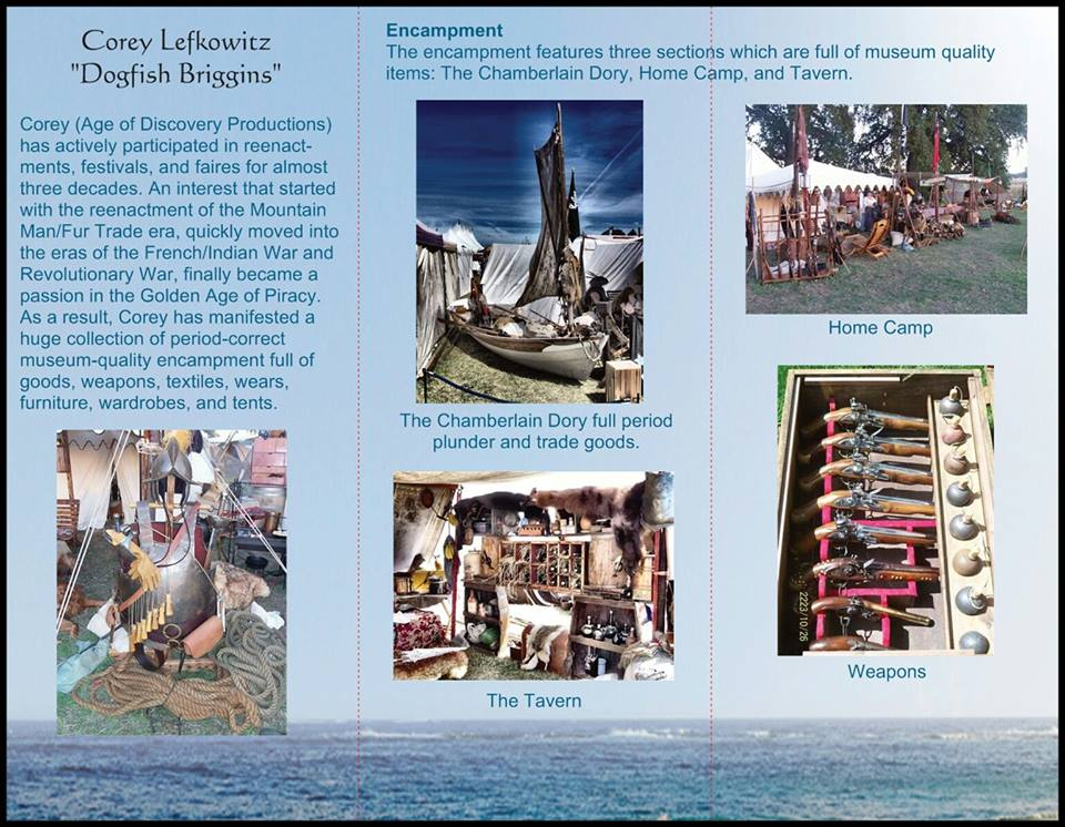 Brochure from Age of Discovery displaying aspects of the Pirate Encampment