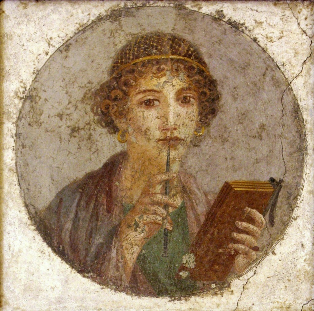 Ancient Rome frescoe Image of a youth pondering a book.